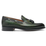 Flat Feet Shoes - Olive Green Leather Barbican Tassel Loafers with Arch Support