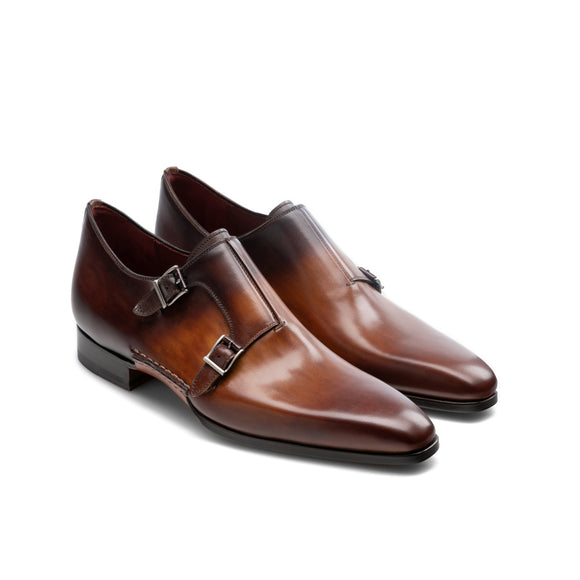 Height Increasing Tan & Brown Leather Ballina Monk Straps Shoes
