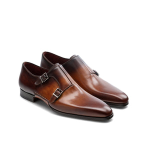 Tan & Brown Leather Ballina Monk Straps Shoes