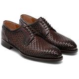 Black Leather Formal Oxford Wholecut Shoes for Men by Costoso Italiano