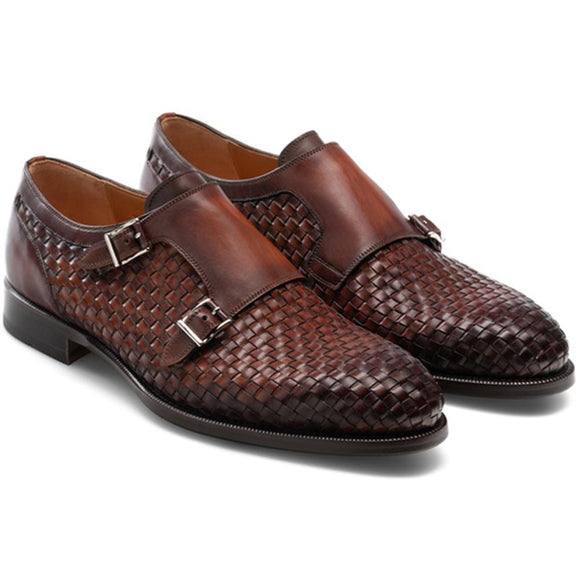 Flat Feet Shoes - Brown Braided Leather Holloway Monk Straps with Arch Support