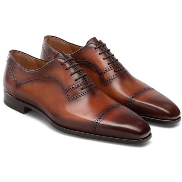 Flat Feet Shoes - Brown Leather Crofton Brogue Oxfords with Arch Support