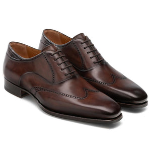 Flat Feet Shoes - Brown Leather Selsdon Brogue Oxfords with Arch Support