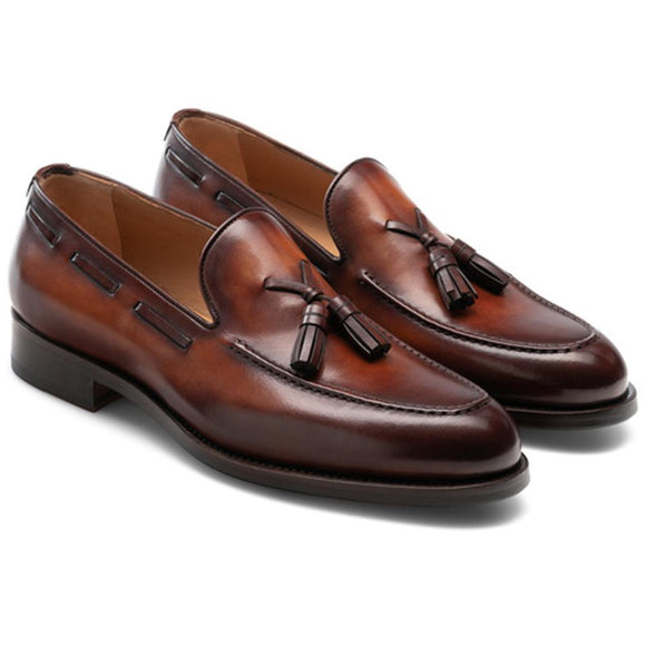 Flat Feet Shoes - Brown Leather Barbican Tassel Loafers with Arch Support