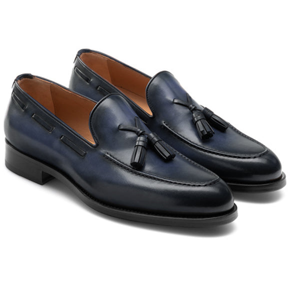 Navy Blue Leather Barbican Tassel Loafers
