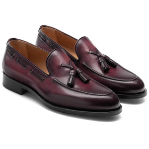 Flat Feet Shoes - Wine Red Leather Barbican Tassel Loafers