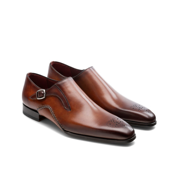 Brown Leather Victoria Monk Straps Shoes