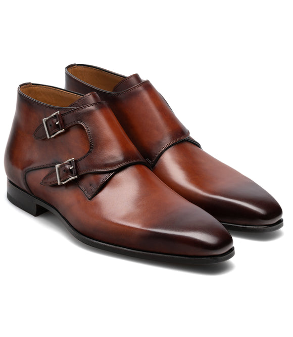 Brown Leather Chambery Monk Strap Boots