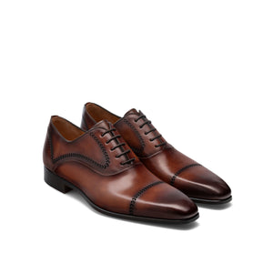 Height Increasing Brown Leather Tasmania Oxfords Shoes