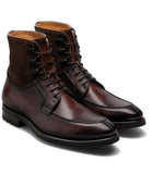Height Increasing Brown Leather Amines Chunky Derby Boots