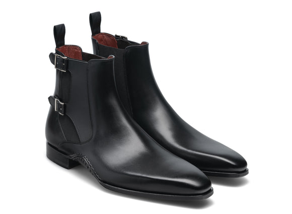 Black Leather Dubbow Chelsea Boots