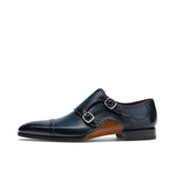 Navy Blue Leather Victoria Monk Strap Shoes