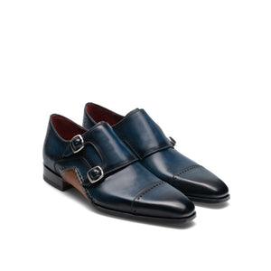Height Increasing Navy Blue Leather Victoria Monk Strap Shoes