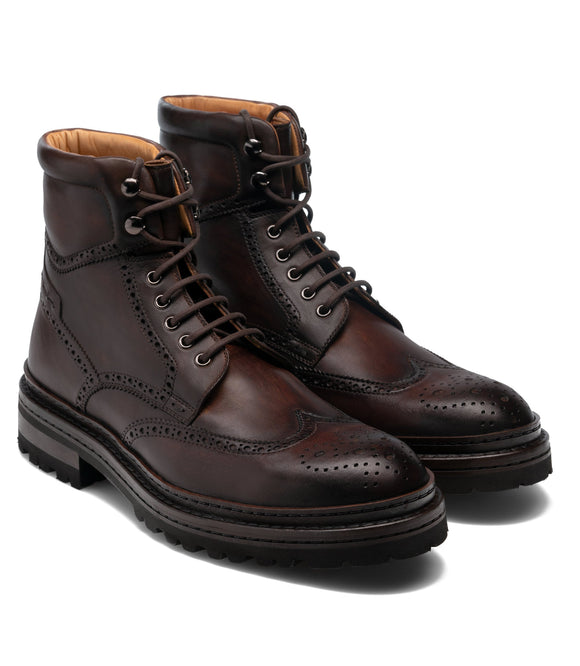 Height Increasing Brown Leather Troyes Chunky Derby Boots
