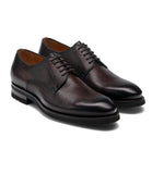 Height Increasing Brown Leather Scripton Chunky Derby Shoes