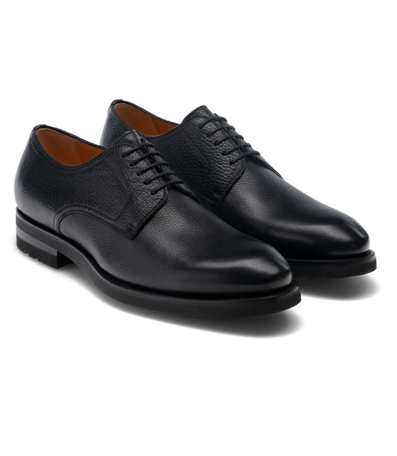 Black Leather Congleton Chunky Derby Shoes