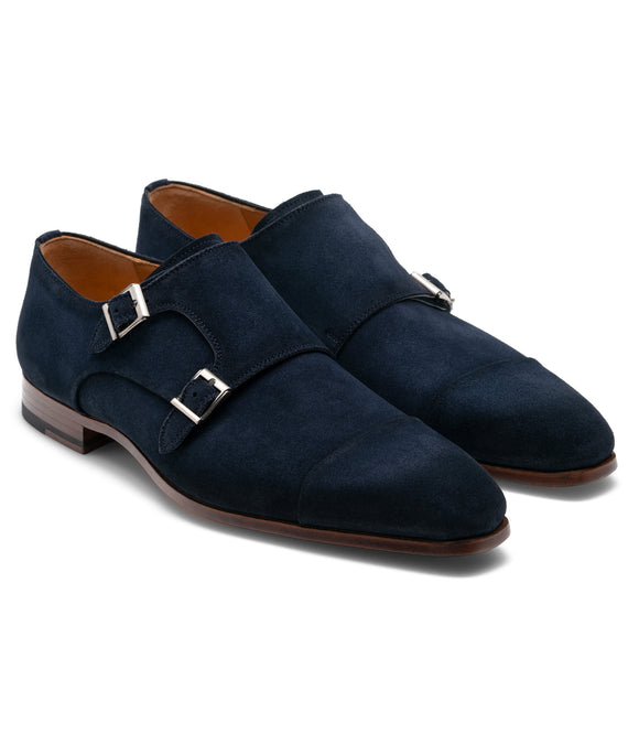 Blue Suede Gariton Monk Strap Shoes