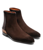 Brown Suede Nicotus Chelsea Zipper Boots