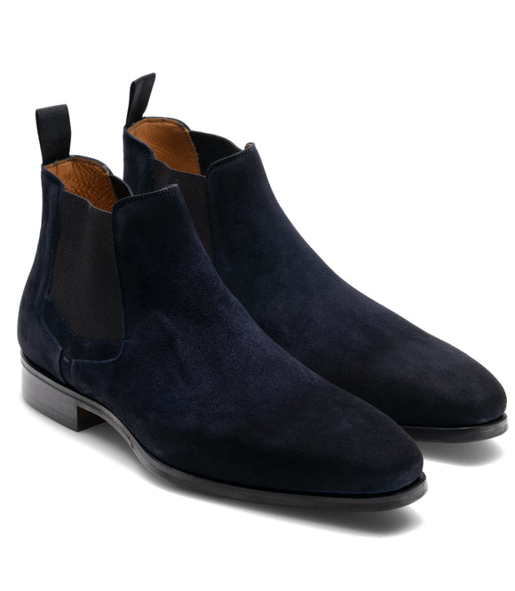 Flat Feet Shoes - Navy Blue Suede Nantes Chelsea Boots with Arch Support
