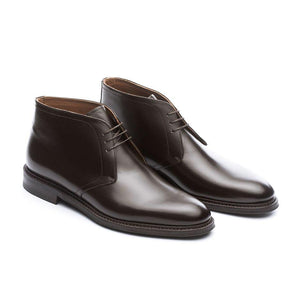 Flat Feet Shoes - Brown Leather Exeter Lace Up Chukka Boots with Arch Support
