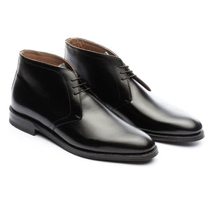 Height Increasing Black Leather Fylde Lace Up Chukka Boots