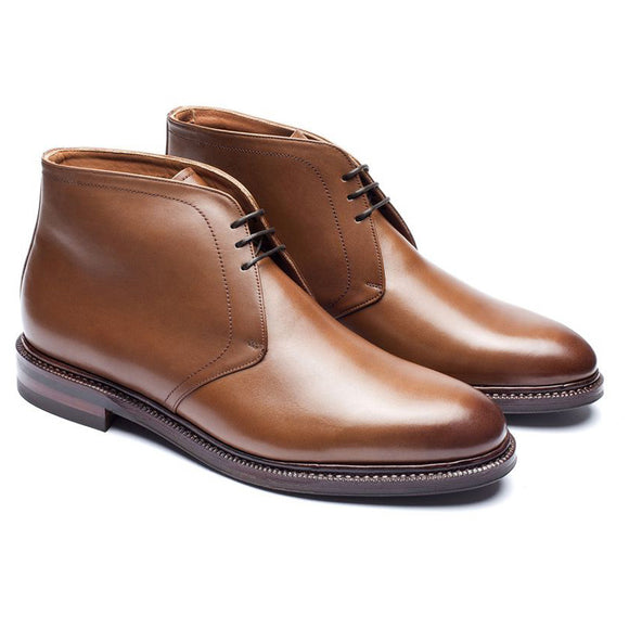 Height Increasing Tan Leather Fenland Lace Up Chukka Boots