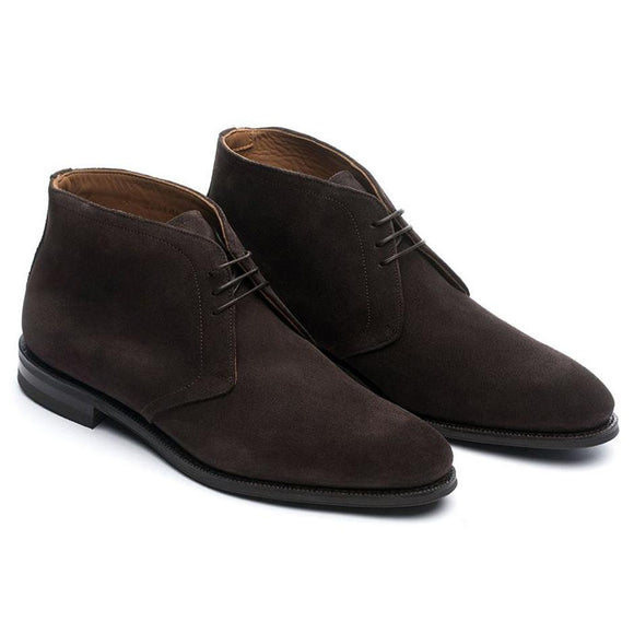 Flat Feet Shoes - Brown Leather Fenland Lace Up Chukka Boots with Arch Support