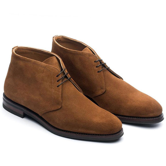 Flat Feet Shoes - Tan Suede Epsom Lace Up Chukka Boots with Arch Support