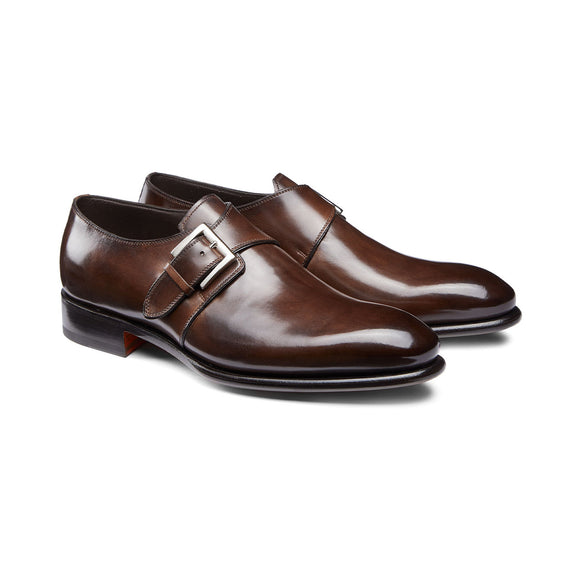 Brown Leather Bromley Monk Straps