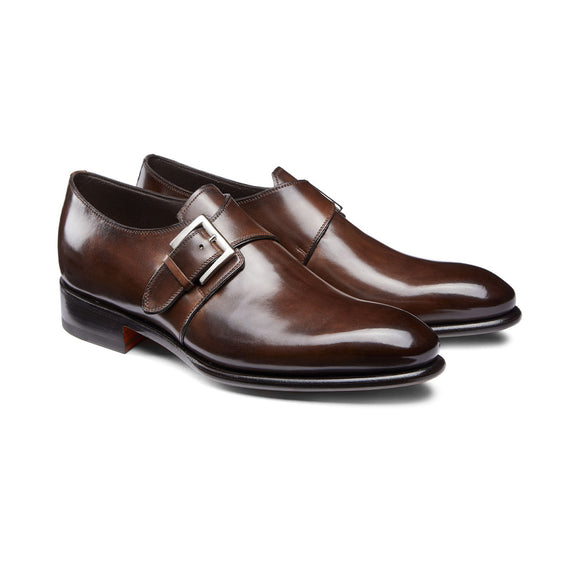 Height Increasing Brown Leather Bromley Monk Straps