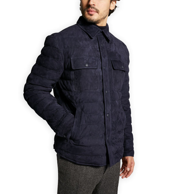 Navy Blue Suede Mayotte Bomber Jacket