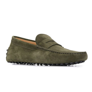 Green Suede Alcalde Penny Driving Loafers