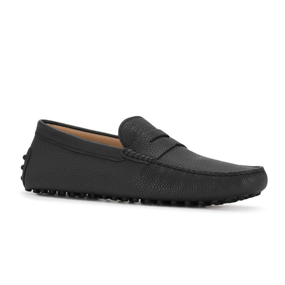 Black Leather Burgos Driving Loafers