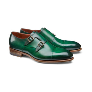 Flat Feet Shoes - Green Leather Castle Monk Straps with Arch Support