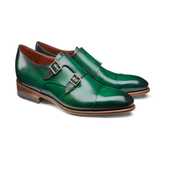 Height Increasing Green Leather Castle Monk Straps