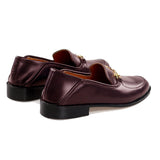 Flat Feet Shoes - Brown Burgundy Leather Penela Horsebit Collapsible Loafer Slippers with Arch Support