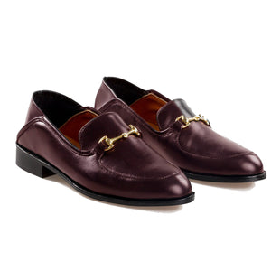 Brown Burgundy Leather Penela Horsebit Collapsible Loafer Slippers