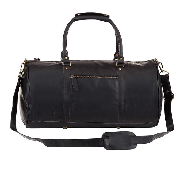 Black Leather Bragg Duffel Bag