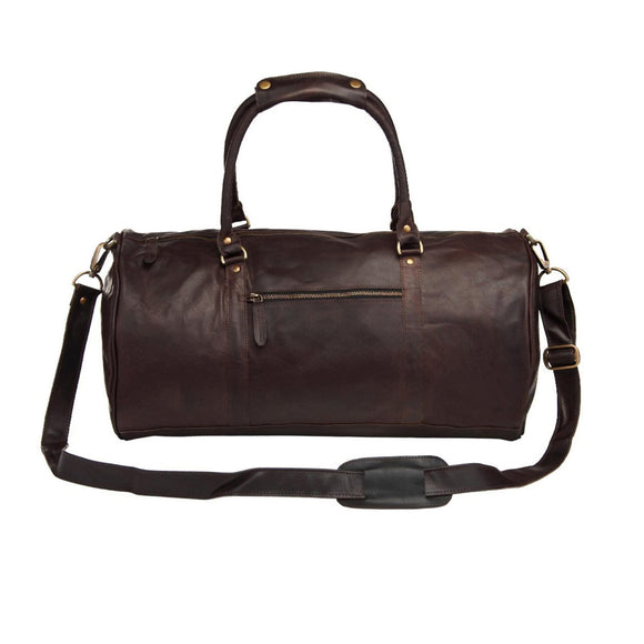 Brown Leather Black Duffel Bag