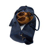 Navy Blue Leather Chaffey Duffel Bag