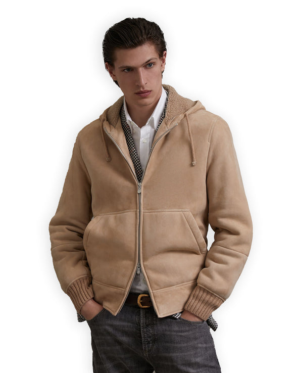 Cream Tan Suede Guyane Hooded Jacket With Fleece Shearling Lining