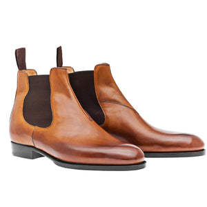 Brown Leather Toeflick Chelsea Shoes