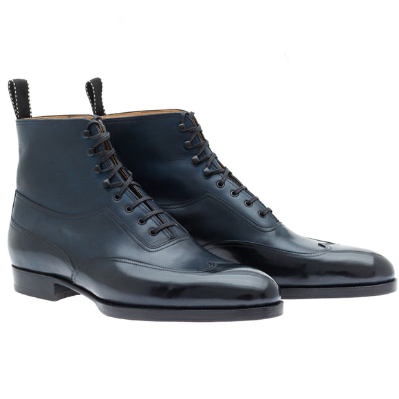Height Increasing Navy Blue Leather Hendon Lace Up Boots