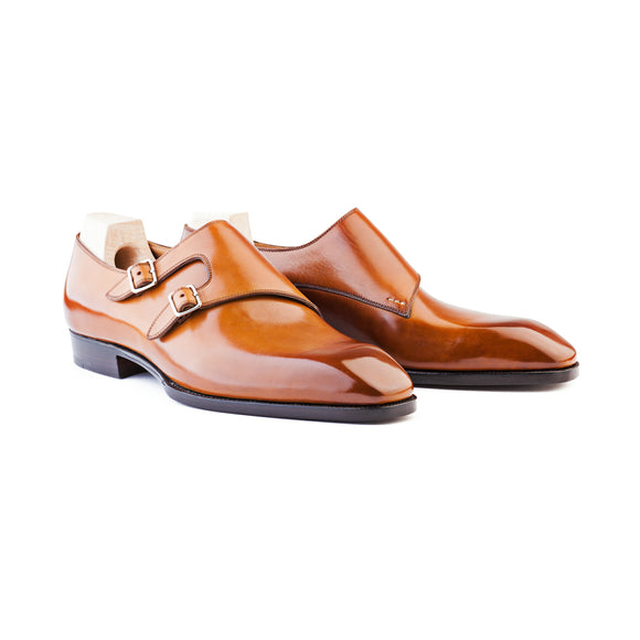 Brown Leather Saffolk Monk Strap Shoes