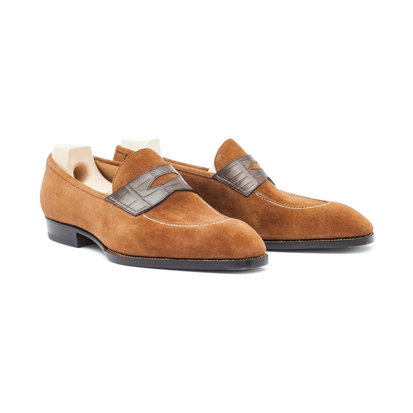 Flat Feet Shoes - Goodyear Welted Vizela Tan Suede Croc Printed Penny Loafer With Violin Leather Sole with Arch Support
