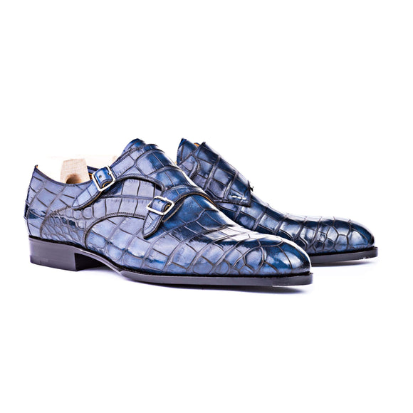 Flat Feet Shoes - Goodyear Welted Aveiro Navy Blue Leather Croc Print Double Monk Strap With Violin Leather Sole with Arch Support