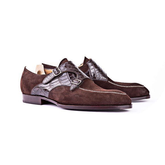 Goodyear Welted Murtosa Brown Suede and Leather Croc Print Double Monk Strap With Violin Leather Sole