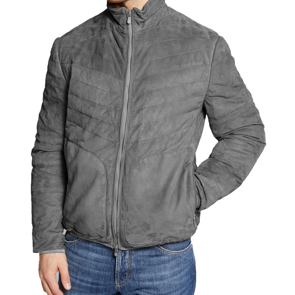 Grey Suede Cairns Bomber Jacket