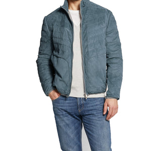 Navy Blue Suede Cairns Bomber Jacket