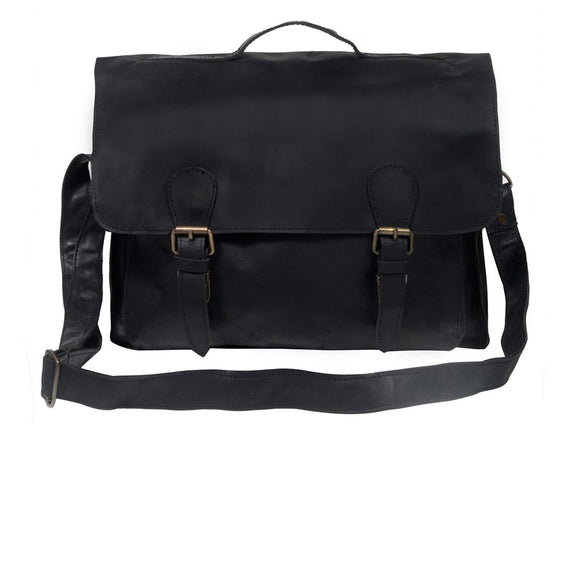 Black Leather Enfield Messenger Bag